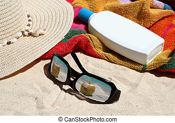 sunny tropical beach - beach items on tropical beach like...