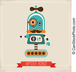 Hipster robot toy icon