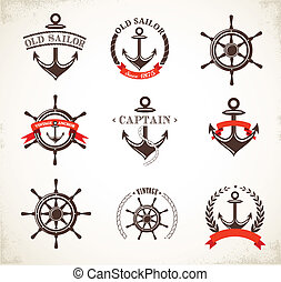 Set of vintage nautical icons and symbols - Set of vintage...