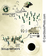 3d coffee cup on social network diagram as concept