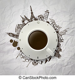 3d cup of coffee traveling around the world - 3d cup of...