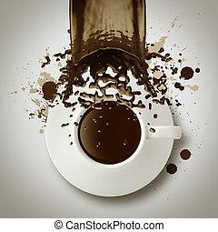 café, derramando, copo, vindima, estilo, saída,  3D