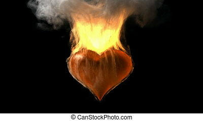 burning heart Alpha matted