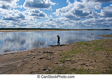 Pinega River in Arkhangelsk region, northern Russia.Golubino