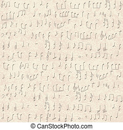 handwritten musical notes - Seamless vintage grunge...