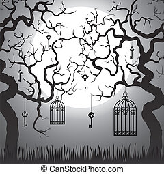 Enchanted forest with gnarled trees and cages at Halloween...