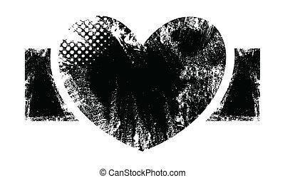 Rough Heart Banner Design - Romantic Heart - Grunge Vector...