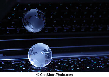 Global communication - Dark background with glassy globe...