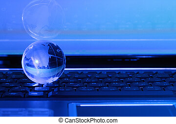 Global communication - Blue background with glassy globe...