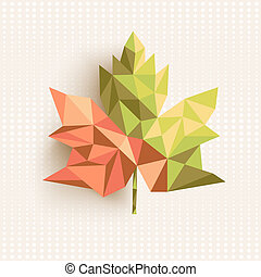 Trendy 3d geometric fall leaf composition illustration EPS10...