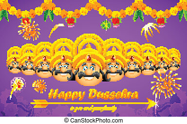 Happy Dussehra - illustration of Raavana with ten heads for...