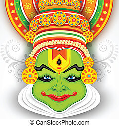 Colorful Kathakali Face - illustration of Colorful Kathakali...
