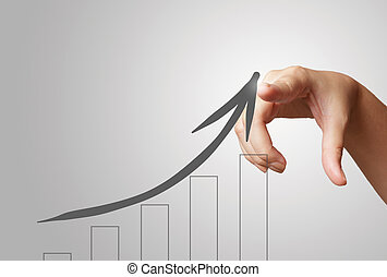 hand draws business success chart concept on virtual screen...