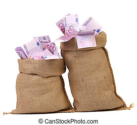 Two bags with many euro banknotes. Isolated on a white...
