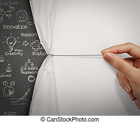 business hand pull wrinkled paper open show business...