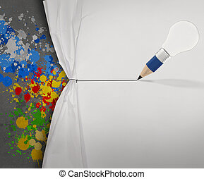 pencil lightbulb draw rope open wrinkled paper show...
