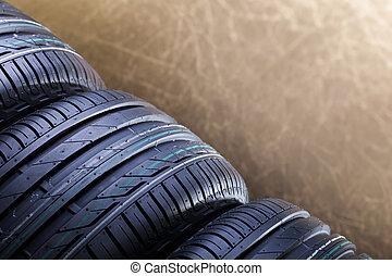 New rubber car tires closep