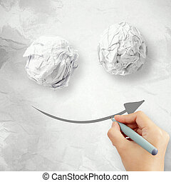 Hand draw smile face arrow and crumpled paper texture as...