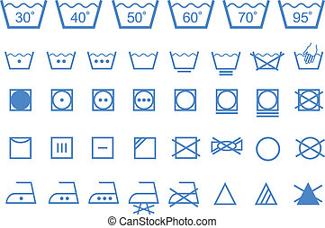 washing care symbols, vector icons - textile care, laundry...