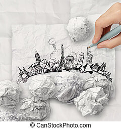 crumpled paper and traveling around the world as concept