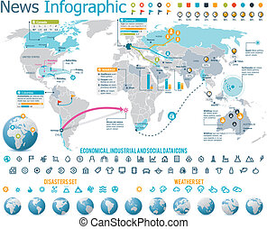Elements for the news infographic - Set of the maps, globes...