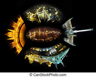 Budapest night collage - abstract view of Budapest night...