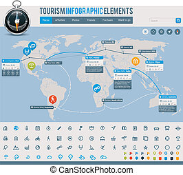 Tourism infographic elements - Set of the maps and...