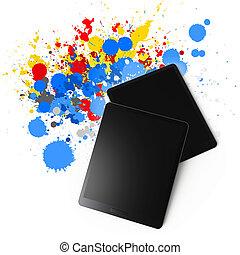 tablet computer on color splash