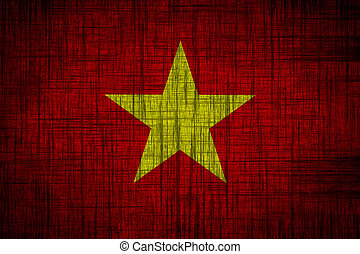 vietnam flag  wood texture