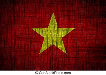 vietnam flag  wood texture
