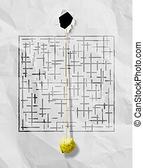 crumpled paper ball through sketch maze on wrinkled background