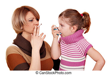 woman with cigarette and little girl with asthma inhaler