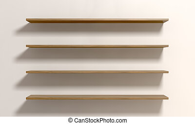 Four Shelves On A Wall - A front view of four regular...