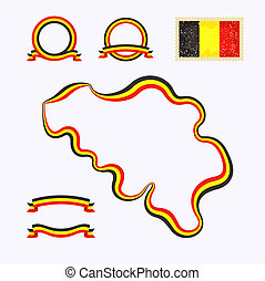 Colors of Belgium - Outline map of Belgium Border is marked...