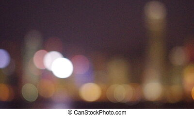 Hong Kong Victoria Harbour at night, from out of focus to...