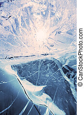 Texture of ice of Baikal lake in Siberia - Beautiful ice of...