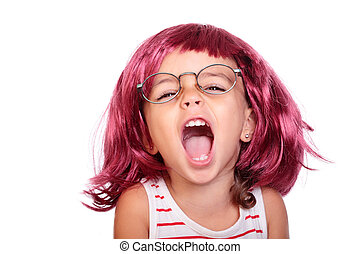 baby screaming - portrait of a beautiful girl with a wig...