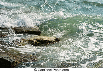 Sea surf - Waves of the Caspian Sea are fighting on the...