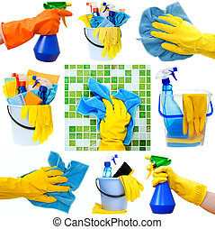 Housework collection - Collection of cleaning supplies on...