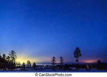 Starry sky in winter