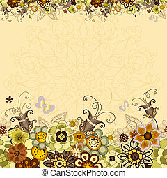 Vintage floral frame with colorful flowers and butterflies...