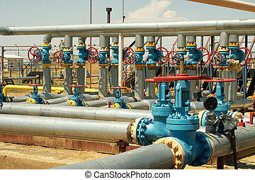 Group valves - Industrial valves, inlet gas from the wells...