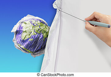 business hand draws rope open wrinkled paper show erath...