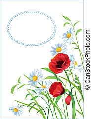 Greeting card with colorful flowers and place for text