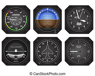 Aircraft Instruments - Set of six aircraft avionics...