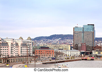 Oslo, a city landscape - Modern house along with the coast...