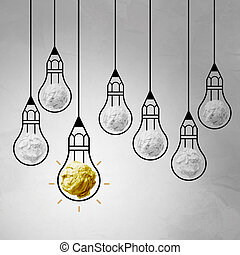 light bulb crumpled paper in pencil light bulb as creative...