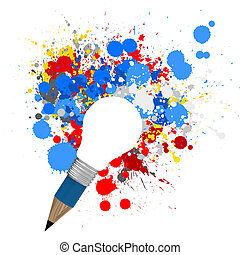 creative design business as pencil lightbulb 3d and splash...