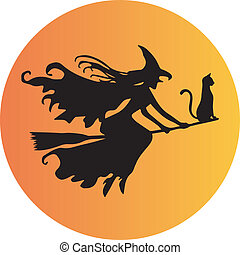 A Witch on Broomstick - A Witch and her cat riding on a...
