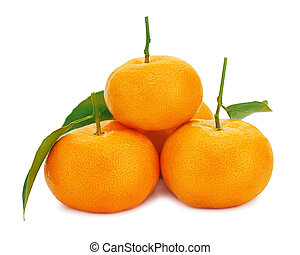 Fresh ripe tangerines with green leaves isolated on white background.